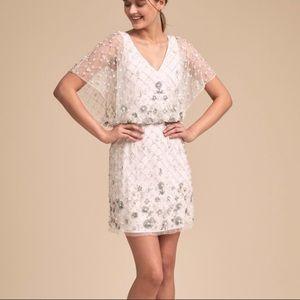 BHLDN Dayflower Beaded White Blouson Mini Dress